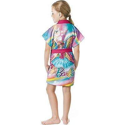 Roupão Infantil Aveludado Barbie Reino do Arco-íris - Lepper