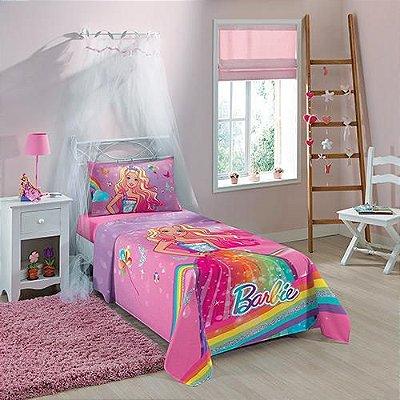 Jogo de Cama Infantil Barbie Reino do Arco-íris 3 Peças - Lepper