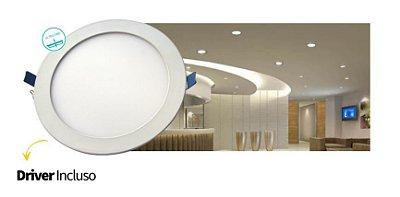 Luminária Painel Slim Embutir 24W LED REDONDO Bivolt CRISTALLUX - 30cm de diâmetro