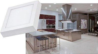 Luminária SOBREPOR 18W LED QUADRADA Bivolt CRISTALLUX - 22,5CM X 22,5CM
