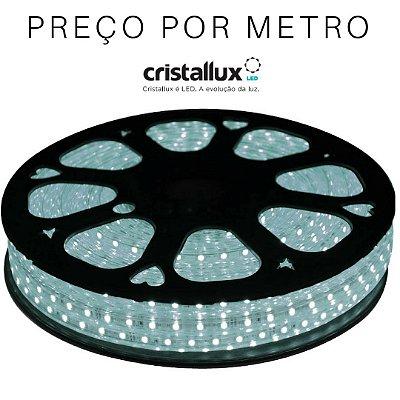 Fita LED BRANCO FRIO 6500K, 14,4w/m CRISTALLUX - Plug & play DIMERIZÁVEL - Tensão de rede - Blindada - PREÇO POR METRO - Kit de ligação vendido separadamente
