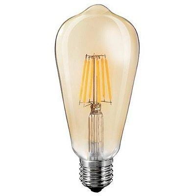 Lâmpada LED ST64 Filamento Vintage 2200K Branco quente Âmbar 4W Cristallux