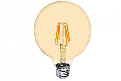 LÂMPADA LED G125 GLOBO FILAMENTO VINTAGE 4w 2200K Branco Quente Âmbar - Cristallux