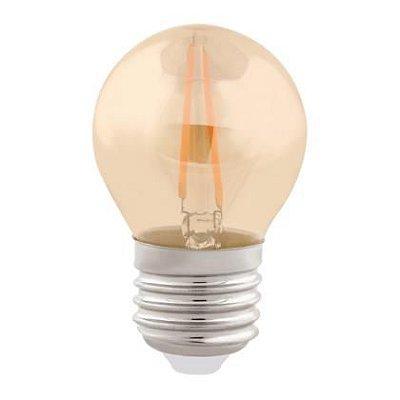 Lâmpada LED BOLINHA G45 Bulbo Filamento Vintage 2w 2200K Branco Quente Âmbar - E-27 Bivolt - Cristallux