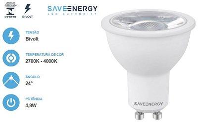 Lâmpada dicroica MR16 GU10 4,8w ÂNGULO DE 24° SAVE ENERGY