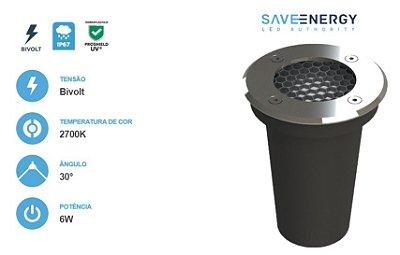 EMBUTIDO DE SOLO 6W 2700K BRANCO QUENTE BORDA INOX SAVE ENERGY COM LENTE ANTIOFUSCANTE