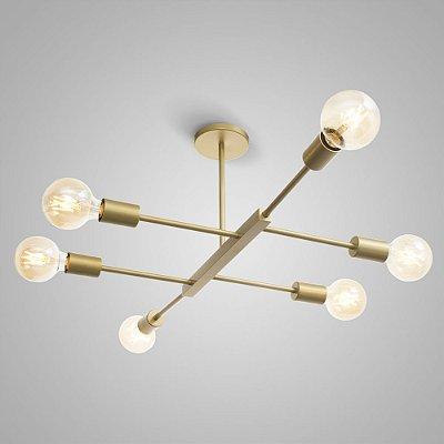 Pendente Metal JAZZ ITAMONTE Ouro Mate - utiliza 6 lâmpadas modelo vintage - vendidas separadamente