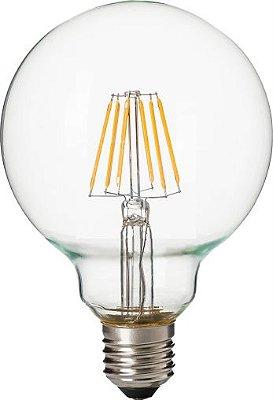 Lâmpada Led Filamento G95 E27 4W - 2700k - Branco Quente - Vidro Transparente - Cristallux - Inmetro