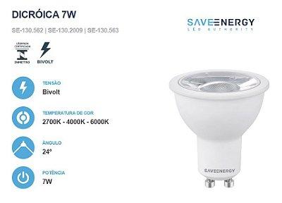 LÂMPADA DICROICA MR16 7W - ÂNGULO 24° - SAVE ENERGY