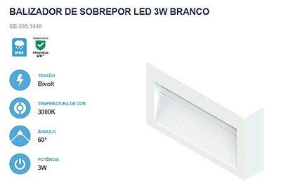 BALIZADOR DE PAREDE DE SOBREPOR LED 3W - SAVE ENERGY - 3000K BRANCO QUENTE