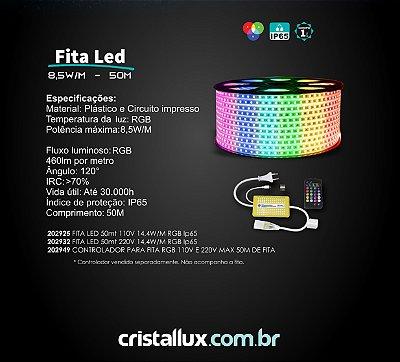 FITA DE LED RGB direta na rede CRISTALLUX - 110v ou 220v - Rolo com 50 metros