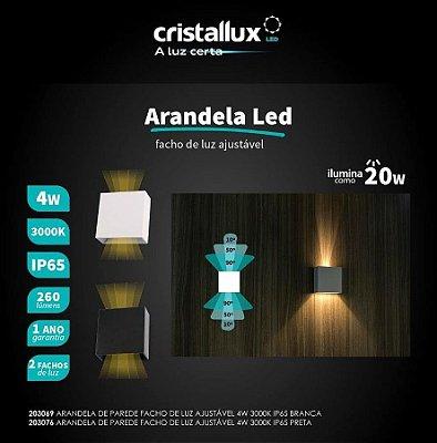 Arandela LED integrado 4w com Facho de Luz Ajustável -  Branco Quente 3000k -  Cristallux - Uso externo ou interno