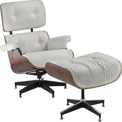 Poltrona Charles Eames com Puff Couríssimo Branco