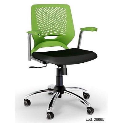 Cadeira Giratória Beezi Plaxmetal Estrutura Cromada - Verde