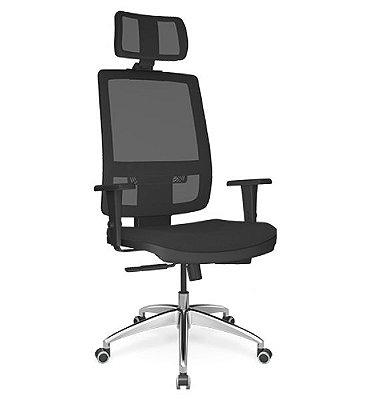 Cadeira Presidente Brizza Relax - Base ALumínio - Braços 3D PU - Plaxmetal