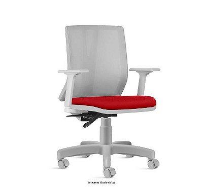 Cadeira Para Escritório Diretor Giratória KADD50- Mecanismo Evolution Cinza - Base Metálica com Capa - Linha Addit - Com Braço - Frisokar