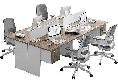 Plataforma de trabalho dupla componível 4 lugares, pés painel | Linha Kflex