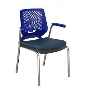 Cadeira Fixa 4 Pes Com Braço Beezi Base Cromada Plaxmetal