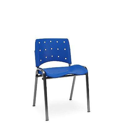Cadeira Fixa em Polipropileno Base Tubular Empilhável Azul Bic