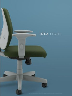 Cadeira Giratoria Idea Light Média 40502 Syncron, Aranha c/ Polaina Presidente, Rod. 50 Nylon, Braço SL New PP, Inj - Cinza Cavaletti