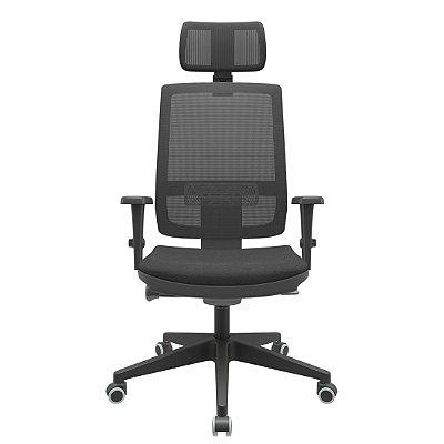 Cadeira Giratoria Presidente Brizza Tela, Sincron Autocompensador  - Apoio Lombar - Base Piramidal - Braços 3D PP - Plaxmetal