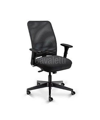 Cadeira para escritório giratória diretor 16002 (LR) - Syncron - Linha NewNet - Braço 3D - Cavaletti - Base  Nylon