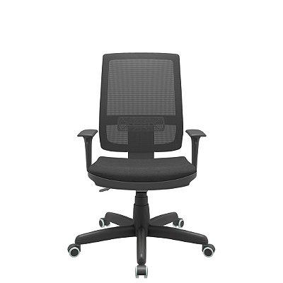Cadeira Presidente Brizza Tela Back Plax Certificada NR-17 - Base Standard Braços Regulavel - Plaxmetal
