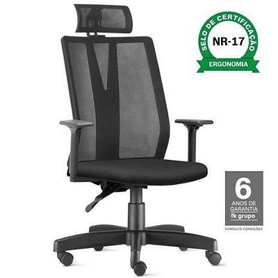 Cadeira Giratoria Addit  KADD60- Mecanismo Syncron - Base Metalica Com  Capa  - Com Braço - Frisokar