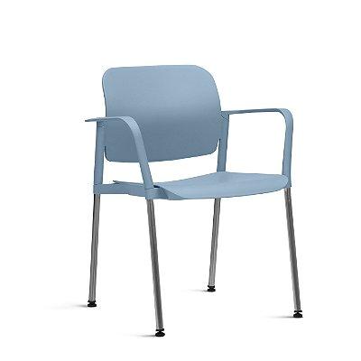 Cadeira Fixa 4 Pes Com Braço Leaf Frisokar