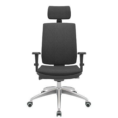 Cadeira Presidente Brizza Soft - Braços 3D PP - Autocompensador Slider - Base Alumínio - Plaxmetal