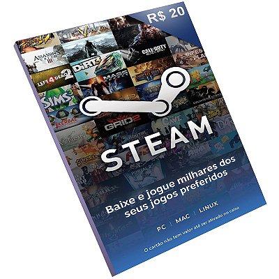 Cartão Pré-Pago Steam R$20 Reais