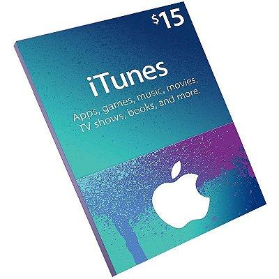 Cartão Pré-Pago Itunes $15 Dólares