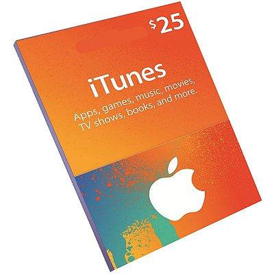 Cartão Pré-Pago Itunes $25 Dólares