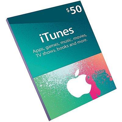 Cartão Pré-Pago Itunes $50 Dólares