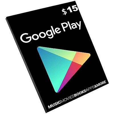 Cartão Pré-Pago Google Play $15 Dólares