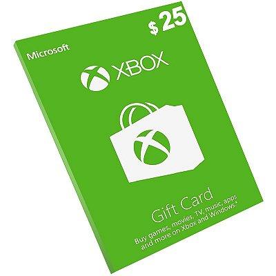 Cartão Xbox Live $25 Dólares