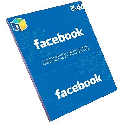 Cartão Pré-Pago Facebook R$45 Reais
