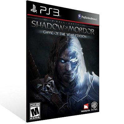 Ps3 - Middle-earth: Shadow of Mordor - Game of the Year Edition - Digital Código 12 Dígitos US