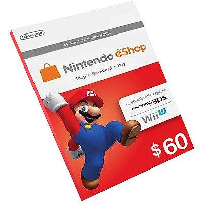 Cartão Pré-Pago Nintendo E-Shop $60 Dólares