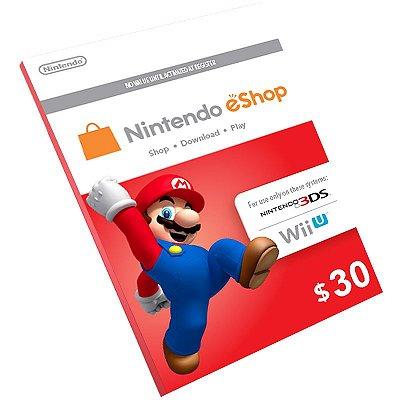 Cartão Pré-Pago Nintendo E-Shop $30 Dólares