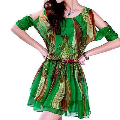 Vestido De Seda Abstrato