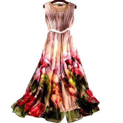 Vestido de Seda Pura Fan Vale