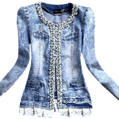 Casaco Denim Collarless