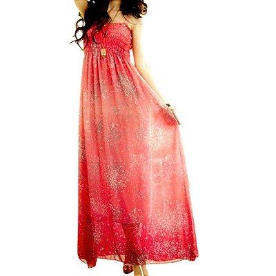 Vestido de Chiffon de Seda Longo