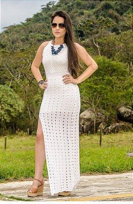Vestido Casual Longo Tricot Crochê Fenda