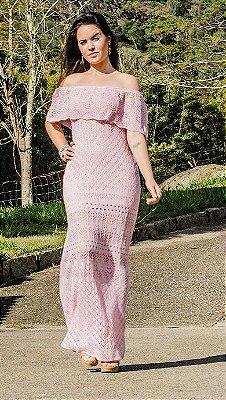 Vestido Casual Longo Tricot Crochê Ciganinha Ombro A Ombro Rosê