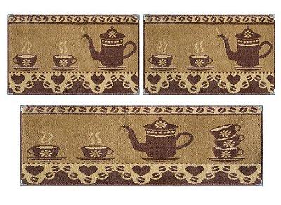Jogo de tapetes para Cozinha Andino 3 Pçs Lancer - Ka 16 Chocolate