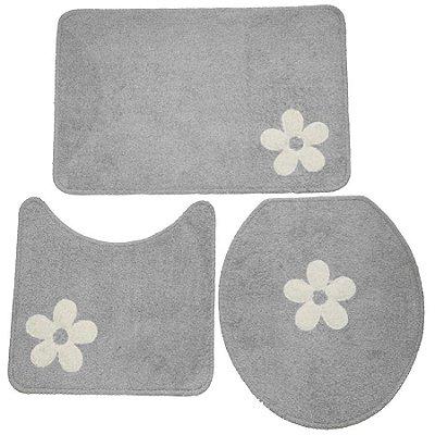 Jogo de Banheiro Cottom aplique 3 peças - Cinza/branco