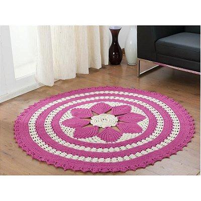 Tapete de Croche Redondo Cinderela - Rosa