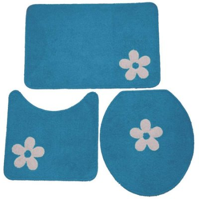 Jogo de Banheiro Cottom aplique 3 peças - Azul/cru